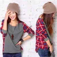 Women Cotton Long Sleeve Shirt O-Neck Plaid Checks Print Casual Loose Top T-Shirt Gray free shipping B2 7820