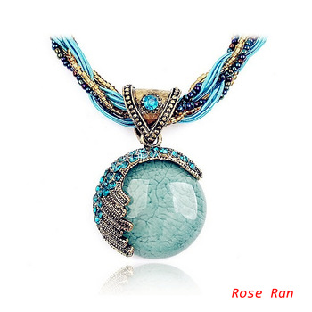 Mini Order $15 !!! Free Shipping! Bohemia Necklace National Trend Exaggerated Necklace,Shinny Bright Big Stone Pendant Necklace