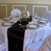 5pcs/lot Black Satin Table Runner Wedding Decoration