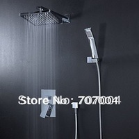 "free shipping to US widespread wall mount concealed rainfall shower set faucet with 8""shower head +hand shower"