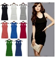 Mini order USD15 ,Hot!! Factory price,Candy Colors cotton Women's Casual Solid H back vest dress vest tops long T shirt Dress