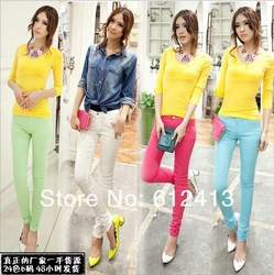 2012 women&#39;s fashion sexy candy colors pencil pants slim fit skinny summer trousers size 25-30 free shipping lady jeans(China (Mainland))