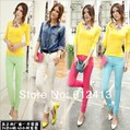 2012 women's fashion sexy candy colors pencil pants slim fit skinny summer trousers  size 25-30 free shipping lady jeans