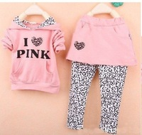 2012 baby girl I love pink design long sleeve hoodies coat+skirt pants 2pieces casual set Girl leopard grain suit