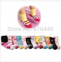 12pair/lot  children socks free shipping Anti slip baby socks Non slip infant socks,baby girl's cotton socks