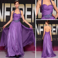 DORISQUEEN Freeshipping Halter Badding Dress Party Evening Elegant Tencel Chiffon Purple Long Prom Dresses For Party 2014 30688