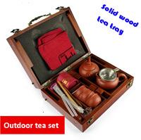 Solid wood tea tray with yixing purple clay tea cups outdoor travel tea sets Kung Fu tea gaiwan set ceramic tea tools drinkware