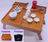 New 2014 outdoor  foldadble bamboo tea tray porcelain tea cup travel kung fu tea sets tea gaiwan set good quality hot- selling