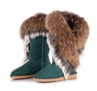 New fashion snow boots for women genuine leather winter warm shoes real fox fur boots wholesale nature rabbit fur big size 34-44