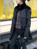 full pelt natural rabbit fur coat 2014 women's winter clothing stand collar overcoat long design outerwear coats