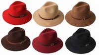 Wholesale 6pcs/Lot Women Floppy Wool Fedora Hat Ladies Winter Felt Hats Fashion Mens Autumn Trilby Cap Men Spring Fedoras Caps