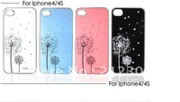 Free shipping! New Arrival  Good  dandelion diamond hard case  for iphone  4 4g 4s with retai packing