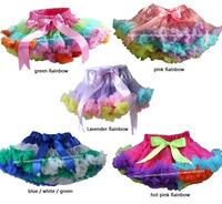 Retail 1 pcs Girls Pettiskirt Children Baby Green Rainbow Soft Chiffon Princess TuTu Skirts 3 M-15 T Kids Clothes Free Shipping