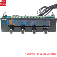 4 Channel Fan Controller + Fan Speed / CPU Temperature Indicator LCD Digital Adjusted manually Optical Bay Front Panel