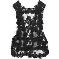 2012 New Lady Hollow Hook Flower Lace Shirtwaist Waistcoat Vest black Beige