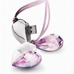 Wholesale NEW heart shape crystal  2GB 4GB 8GB 16GB 32GB USB 2.0 Memory Stick Flash Drive, free shipping