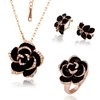18K rose gold Jewelry Sets black rose flower Necklace+Ring+Earrings. Free Shipping,Wholesale beautiful Jewelry