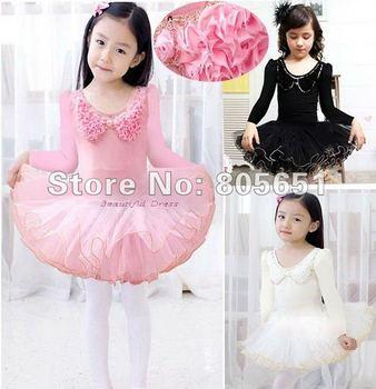 Розничная бесплатная доставка девушки дети с / с коротким рукавом танцевальная одежда розовый белый черный купальник балетная пачка скейт ну вечеринку юбка SZ3-9Y