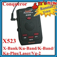 New&Cheapest! Car Radar Detector with Russian Voice Conqueror X523 update x323 KA-PLUS super signal Auto Ku/Laser Vg-2 full band