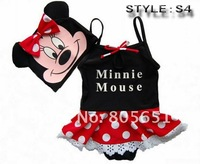 Retail-Hot sale-Freeshipping-Girls Kids Minnie Mouse Cartoon Swimwear Tankini Bather Beach Bikini Swimsuit Tutu Dress SZ3-8Y