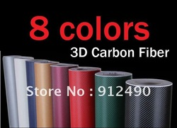 Hot! High quality 150 CM x 59CM 10 colors 3D Carbon Fiber film Vinyl Car Sticker Carbon fiber sheet Free shipping(China (Mainland))