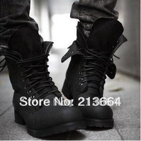 Retro Combat boots Winter England-style fashionable Men's short Black shoes military boots