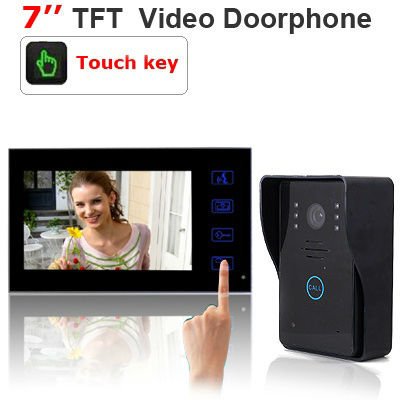 "Wired Home Security Video Door Phone Doorbell Intercom System w/ 7"" TFT LCD Color Monitor Touch Key(China (Mainland))"