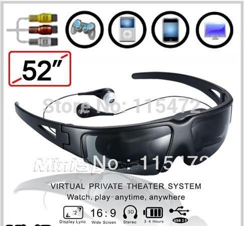 Versandkosten neuen 2014 52 zoll vg260 portablen drahtlosen videobrille brillen mobilen theater mit av-in für fpv