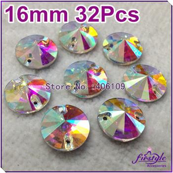 32pcs 16mm Round Rivoli Crystal Sew On Rhinestones Flatback 2 holes Crystal AB Silver Base Chaton Beads