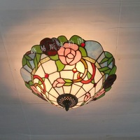 New 40CM Rose American Pastoral ceiling lamps Tiffany pink glass lamps bedroom living room entrance Lighting