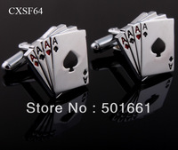 Free Shipping,2013 Fashion Classic Men cufflinks /Spades A shape Cufflinks Silver Cuff links Men jewelry Shirt cuff Cufflinks