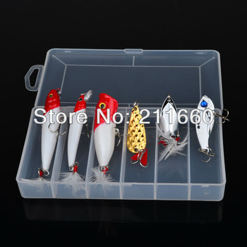 Hot 6pcs/lot Fishing Lure with box Mixed color/Size fishing tackle Mix Minnow,Pencil,Popper Spoon Lures fishing bait Free Ship
