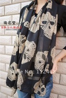 Winter new arrival super big diamond skull printed chiffon silk scarf WJ-070