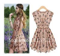 european women summer elk pattern waist dress,korean slim fashion skirt plus size S,M,L,XL A-027