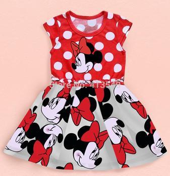 2015 новый свободного покроя девушки одеваются дети мультфильм принцесса пачки точка с коротким рукавом платья детская одежда в наличии
