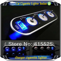 Free shipping!Wholesale USB+3 way Car Cigarette Lighter Socket Splitter DC 12V + USB + LED control  , Mobile phone charger