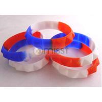 Free Shipping 100pcs/lot Red&White&Blue Taper Facet Silicone Rubber Wristband Bracelet  Unisex Charm Bangles Bracelets Gift