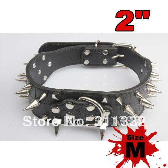 Free shipping 2 Feet Wide Spiked Dog Collars Leather Collars For Pit Bulldog Boxer Doberman(China (Mainland))