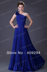 Grace Karin Stock Long One Shoulder Pleated Blue Gown Designers Prom Ball Evening Party Dresses 8 Size, Free Shipping CL3467(China (Mainland))