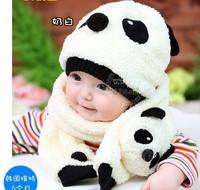 Free shipping  wholesale winter baby child cute panda pattern hat & scarf baby knitting wool plus cotton cap thermal style