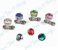 20pcs DERMAL Anchor SKIN DIVER G23 TITANIUM with GEM STONE Dermal Anchor Fashion Body Piercing Jewelry