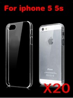 Wholesales Hard Plastic clear crystal transparent back cover cases for iphone 5 ,Free Shipping 20pcs/lot