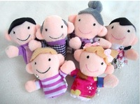 Free Shipping 12pcs/lot Baby Plush Toy Finger Puppets Talking Props 6 person SW067