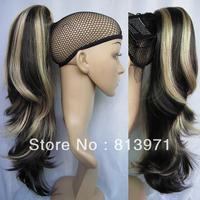 Women's Fashion Hair Tail Loose Wavy Highlight Ponytail Hair Ponytail Extensions #K4HK15 Black & Blonde Ponytail Wig Hairpieces