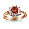 Min.order is $10 (mix order) flower red ruby 18K gold plated austrian crystal engagement ring princess R318