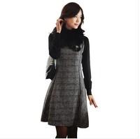 Fat women's autumn winter woolen Large size S-XXXL,4XL sleeveless vest dress female fashion vest dress big size 2014