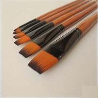6 pcs flat nylon hair paint brush acrylic brush art supplies oil painting brush free shipping