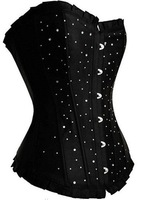 2013  hot sale high quality fashion  Sexy black dot women satin corset overbust Lingerie+G string with sequined freeshipping