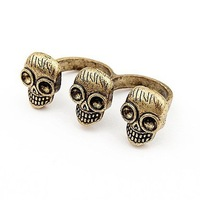Sheegior Punk Designer Jewelry three skull heads Bronze two fingers alloy rings Personality jewelry ! Free shipping