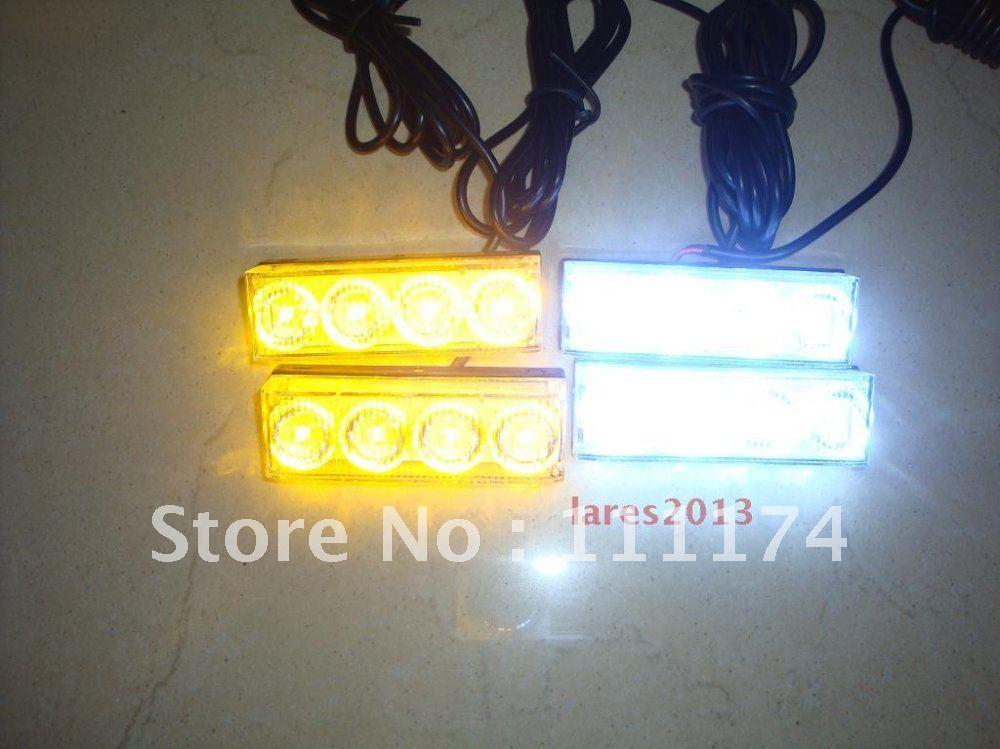 Amber and White 16 Watt 4x4 LED Fire Tow Emergency Truck Utility Light Bar Vehicle(China (Mainland))